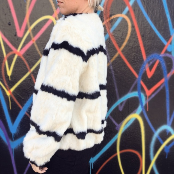 20d7fdee8c H&M Jackets & Coats | Black And White Striped Faux Fur Coat | Poshmark